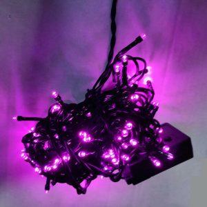 100 λαμπάκια LED 5mm σε σειρά 5 m πράσινο καλώδιο 8 προγράμματα IP20 Φούξια