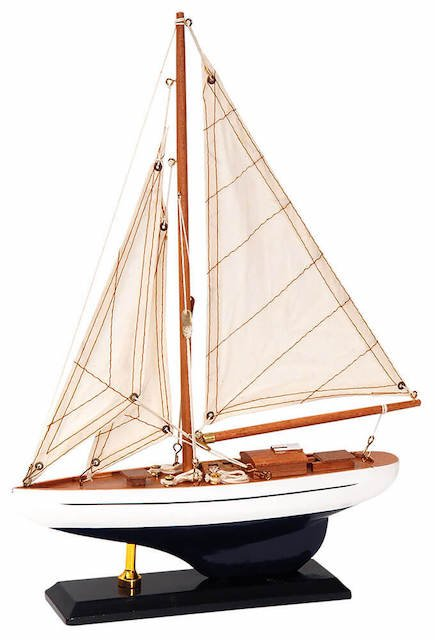 Παραδοσιακό Καράβι 25x6x36h cm Καφέ Μπλέ 1