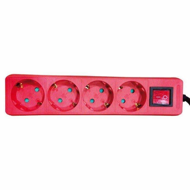 Πολύπριζο με διακόπτη 4 Θέσεων Σούκο Κόκκινο 2 m καλώδιο 1 e1608736275893