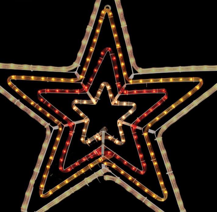 Φωτοσωλήνας Αστέρι τετραπλό 100 cm με 10 m Εσωτερικού Εξωτερικού Χώρου 8 προγράμματα Λευκό–Κόκκινο–Κίτρινο–Λευκό